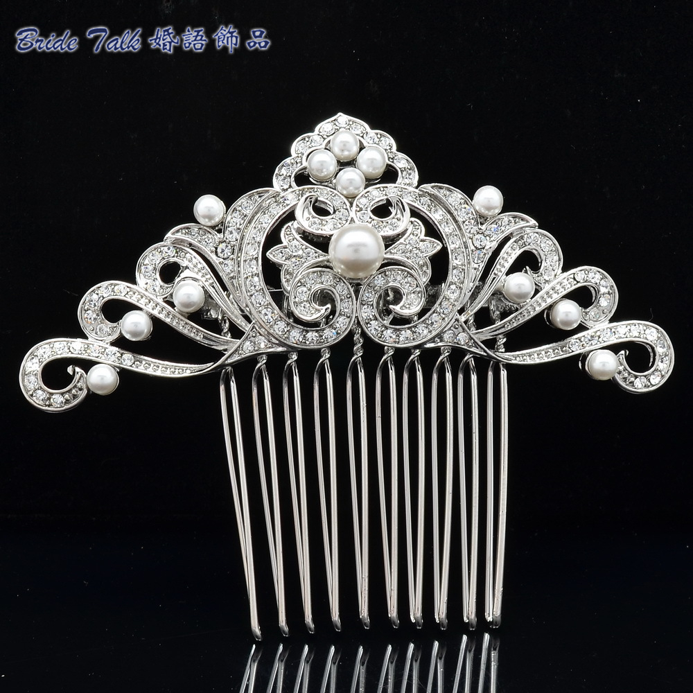 Bridal Hair Accessories Wedding Hair Comb Rhinestone Crystal Simulated Pearls Flower Leaf Hair Comb Bridesmaid Jewelry