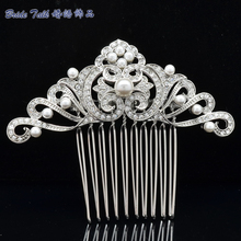 Bridal Hair Accessories Wedding Hair Comb Rhinestone Crystal Simulated Pearls Flower Leaf Hair Comb Bridesmaid Jewelry 4144R