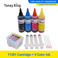T1281 T1282 T1283 T1284 Refillable Ink Cartridge for Epson Stylus SX125 SX130 S22 SX230 Printer +4 Color 100ml Refill Dye Ink