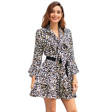 new mama style fashion turn-down neck print dress above knee Mini flare sleeve sheath slim sashes A-line female