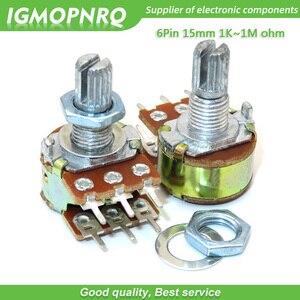 2pcs B1K B2K B5K B10K B20K B50K B100K B1M 6Pin Eixo WH148 1K 2 Amplificador Potenciômetro Estéreo Dupla K 1 50 10 5K K K 100K M