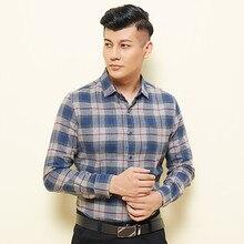 Flannel Shirt Men Spring Autumn Mens Cotton Plaid men shirt long sleeve Korean Edition Casual Middle-aged