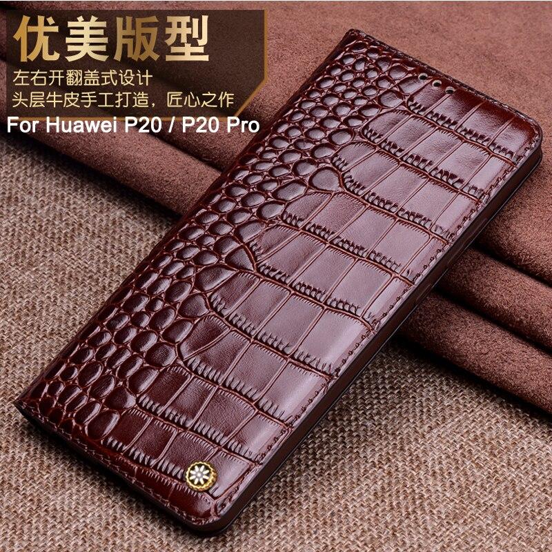 Pour HUAWEI P20 P20 PRO étui en cuir véritable housse arrière pour en Stock Huawei P20/P20 Pro étui flip étui coque cove