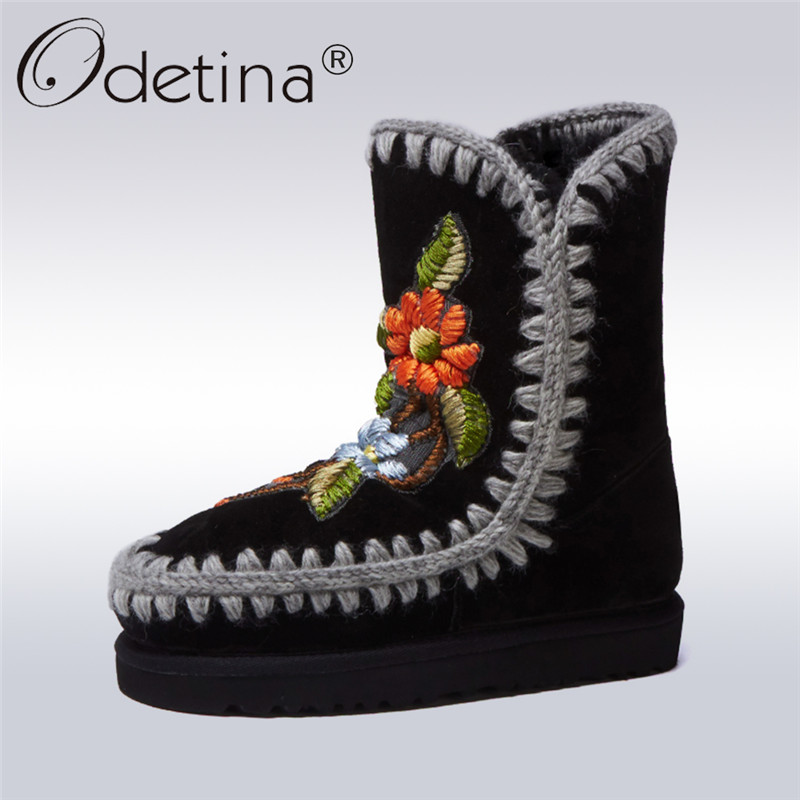 Odetina New Genuine Leather Luxury Fur Snow Boots Women Embroider Floral Wool Fur Lined Winter Warm Shoes Slip On Ankle Boots 43 цена и фото