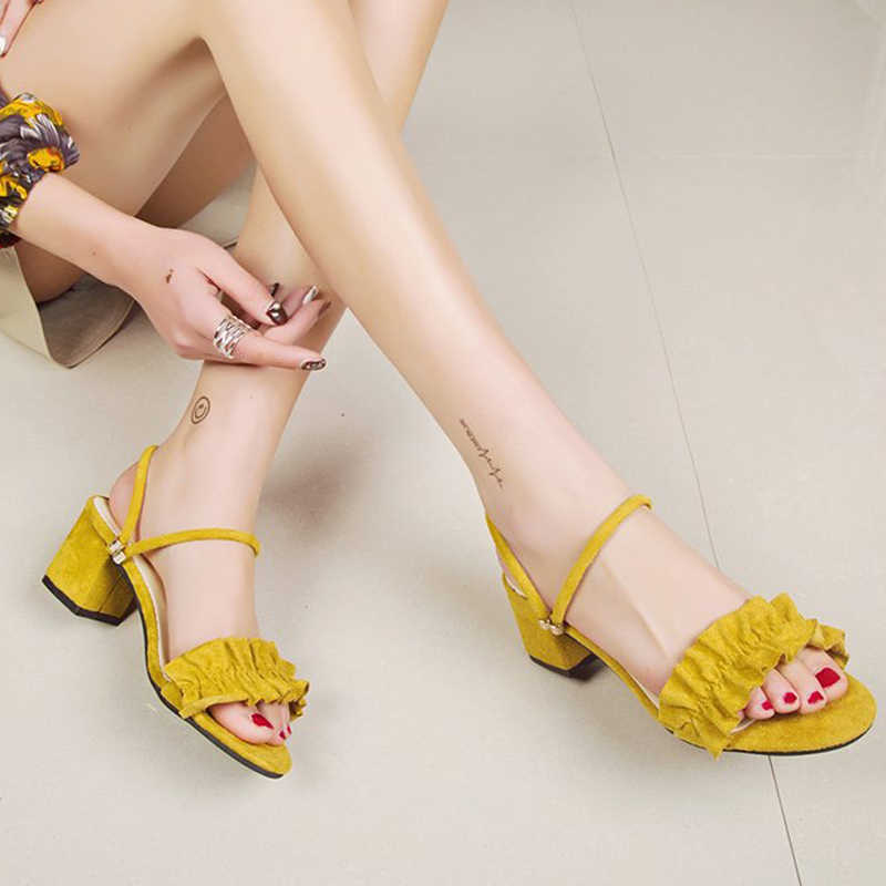 2019 Summer Square High Heels Sandals Women Platform Ankle Strap Slippers Slip On Solid Pumps Ladies Fashion Shoes XWZ5710