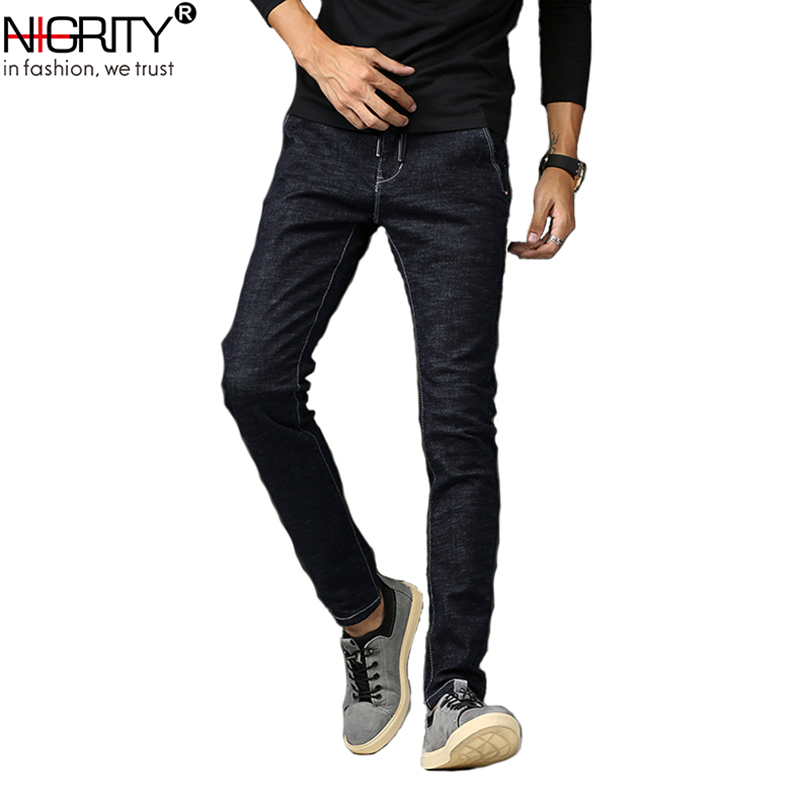 NIGRITY Men Jeans New 2018 Hot Summer Stretch Slim Fit Jeans Classic Black Ripped Jeans Big Size Pants