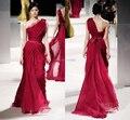 Vestido De Festa colher elegante Vestido De Festa vestidos longo vermelho De um ombro Vestido De Chiffon A linha Plus Size