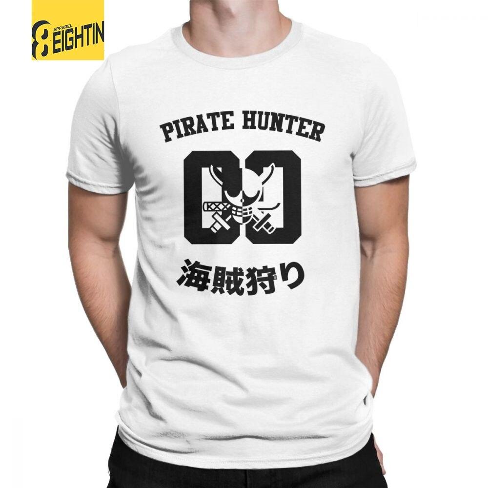 One Piece Roronoa Zoro Pirate Hunter Shirt T-Shirts Men Short Sleeve Funny Tee Shirt O Neck 100% Cotton Clothes Beach T Shirt