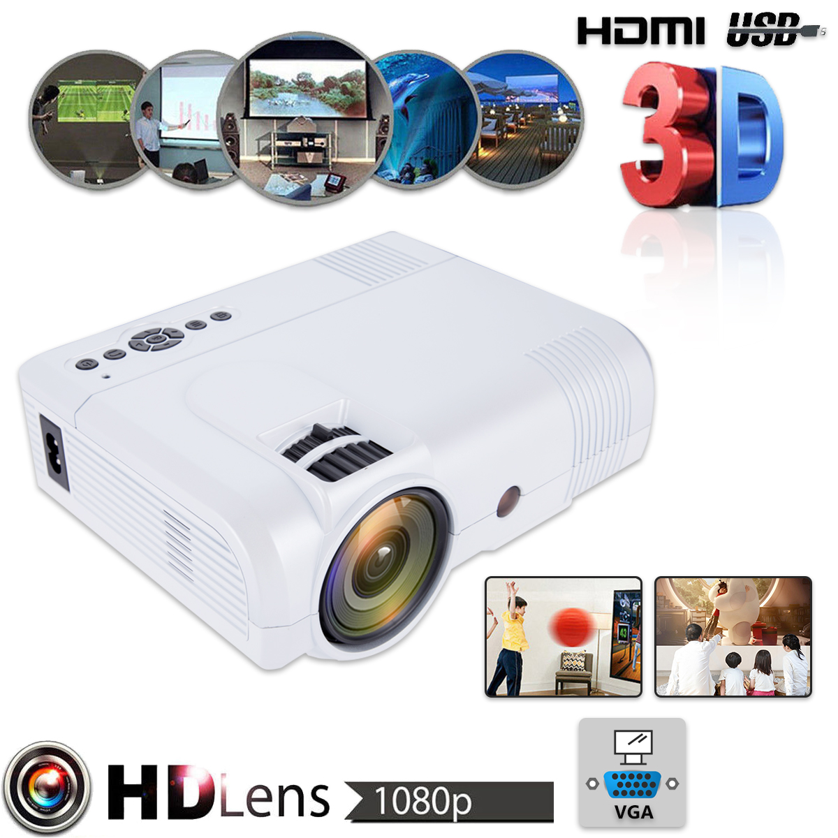 3D 1080P Mini Projector Full HD L8 3000 lumens LED Cinema Video Digital HD Home Theater Projector with AV Cable Power Cable стоимость