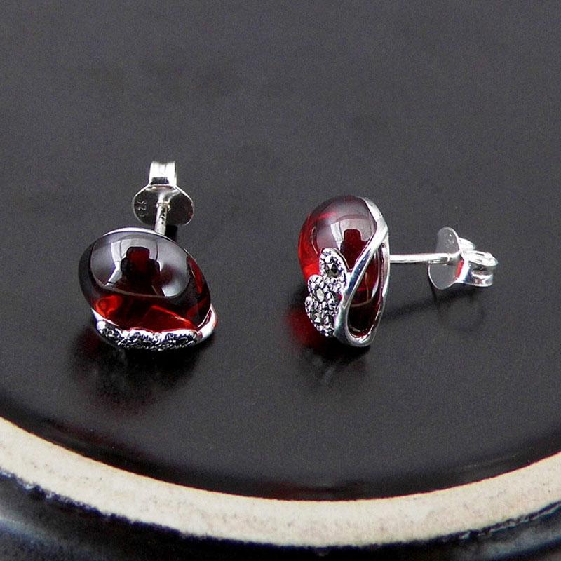 925 argent coeur boucle d'oreille naturel jaune pierre S925 en argent Sterling boucle d'oreille boucles d'oreilles pour les femmes rouge cubique Zircon