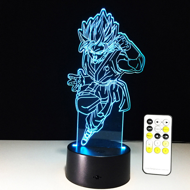 (4 Styles)Dragon Ball Color Changing Lamps w/ Control Goku Lights Bright
