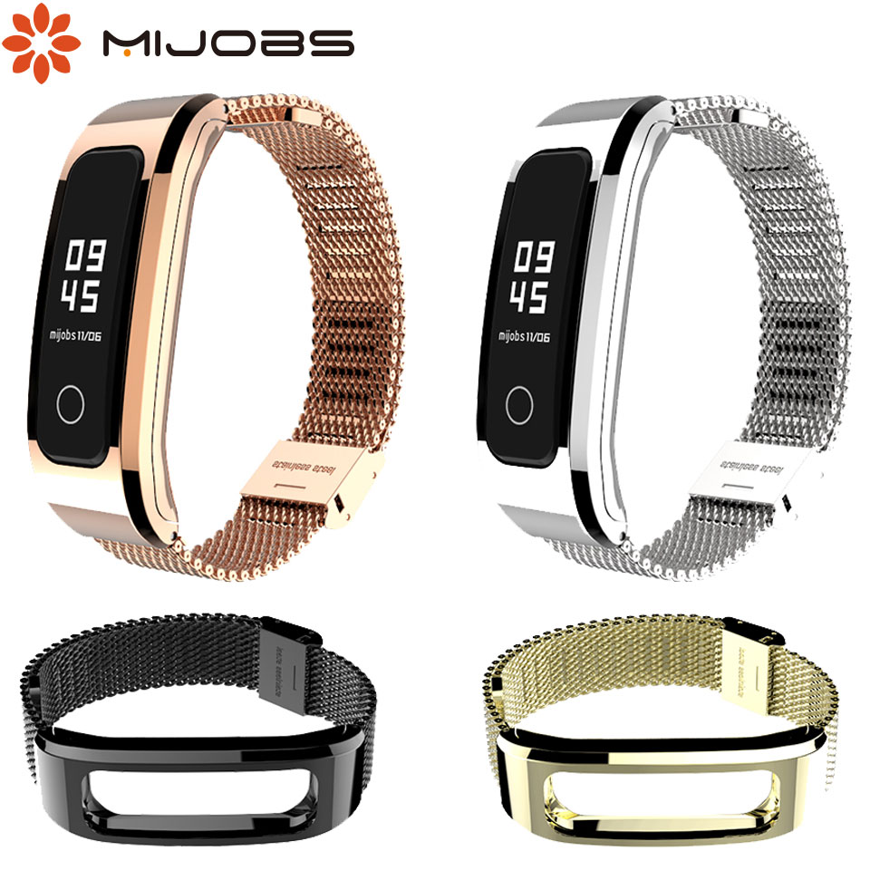 Mijobs Milans Strap For Huawei Honor Band 4 Running Version Smart Bracelet Stainless Watch Replaceable For Honor Band 4 Running