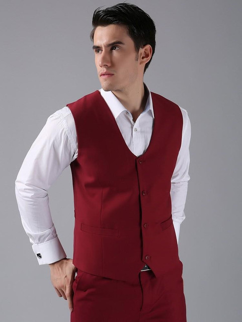 New Arrival Groom Vests Red Groomsmens/Best Man Vest Custom Made Size and Color Four Buttons Wedding/Prom/Dinner Waistcoat
