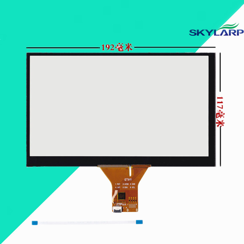 New 8 Capacitive Touch Panel 192x117mm for 1024x600 GPS Android Handwriting Screen touch panel Glass Free shipping