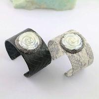 4Pcs Black White Color Snakeskin Rose Flower Shell With Rhinestone Paved Charm Jewelry Cuff Bangle Bracelet