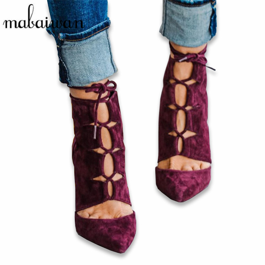 Fashion Wine Red Suede Lace Up Women Ankle Boots Pointed Toe Short Booties High Heel Summer Boots Women Pumps Botines Mujer