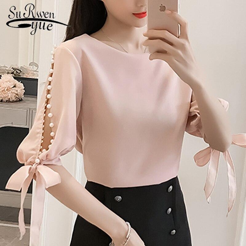 Summer ladies tops chiffon Women   Blouse     Shirt   Fashion woman   blouses   2018 Pink beading feminine   blouses   Blusas femininas 0359 40
