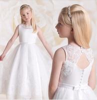 White Ivory Tutu Flower Girl Dress Ankle Length O Neck A Line Sleeveless Lace Satin Girls