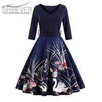 Hot Sale 2017 Fashion Vintage Summer Dresses Sexy Hanging Neck Party Dresses Classic Printing Lace Women