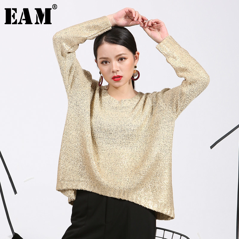 [EAM] Back Striped Spit Joint Knitting Sweater Loose Fit V-Neck Long Sleeve Women New Fashion Tide Autumn Winter 2019 JZ064
