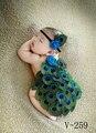 Estilo Bebê Recém-nascido Fotografia Props Animal Projeto Da Pena do pavão Foto Props Headband + tampa tiro do estúdio Costume Outfit
