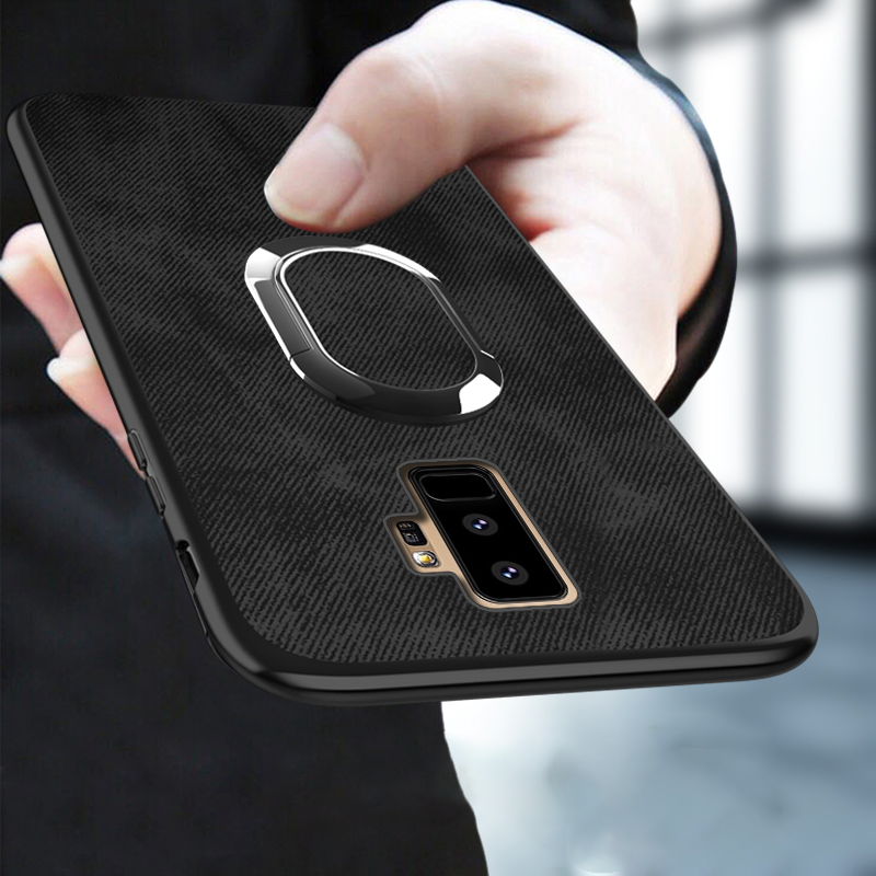 Canvas Phone Case For Samsung Galaxy S9 Plus S7 Edge S8 Note 8 9 A5 A7 J7 Car Holder Magnetic Suction Ring Bracket Cloth Fabric