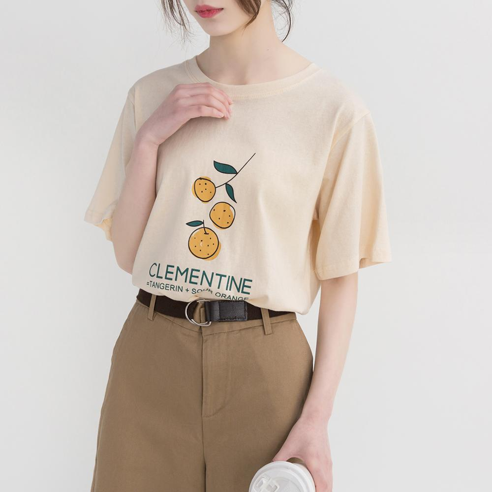 Simple Cute Orange Printed Letter Cotton Loose Fresh Vintage College Wind Short Sleeve Female T shirts in T Shirts from Women 39 s Clothing