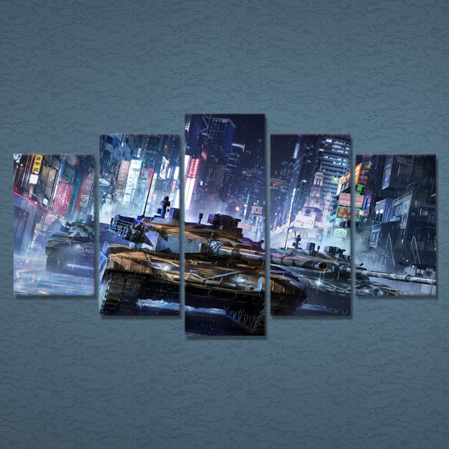 5 Pcs/Set Framed HD Printed Tanks Warfare Games Poster Pictures Room  Decoration Canvas Wall