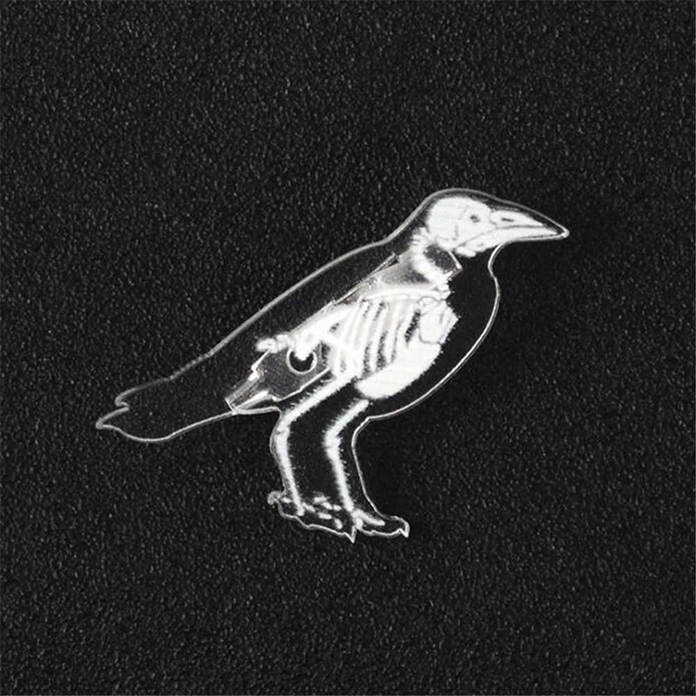 Ellenmar Alla Moda Unico Scheletro di Animale Spille Spilla Acrilico Trasparente Pinguino Maiale Gatto Coniglio Mouse Del Cranio Dello Smalto Distintivo Spille