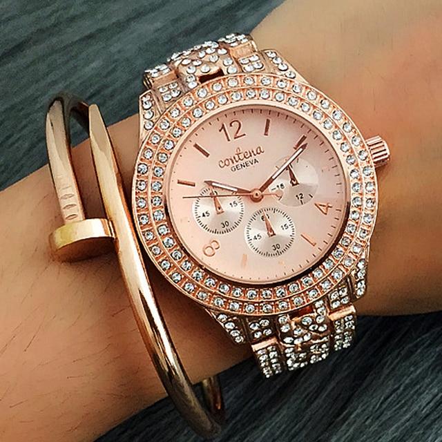 34c61fee4d04c CONTENA New Brand Watch Relogio Feminino Womens Dress Watches Rose Gold  Jewelry Bracelet Ladies Watches Girl