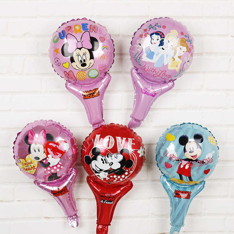 5pcs Minnie mouse Party Decorations hand Stick Foil Balloons Disney Princess Handheld Globos Baby Shower Boy Girl mickey toys