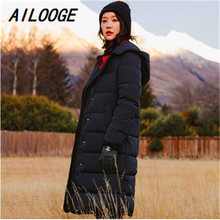 AILOOGE 2018 New Winter Hooded Long Thick Warm Down Jacket F