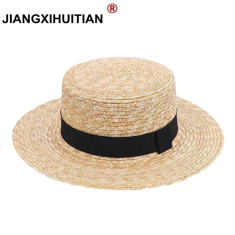 Women Wide Brim Straw Hat Fashion Chapeau Paille Summer Lady Sun Hats Boater  Wheat Panama Beach 0448f9200eb0