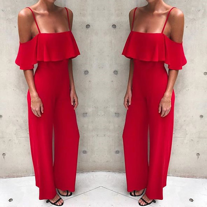 Women Sexy Off shoulder Ruffles Solid Jumpsuits Straps Plain Rompers Ladies Summer Casual Chic Playsuits Slimming