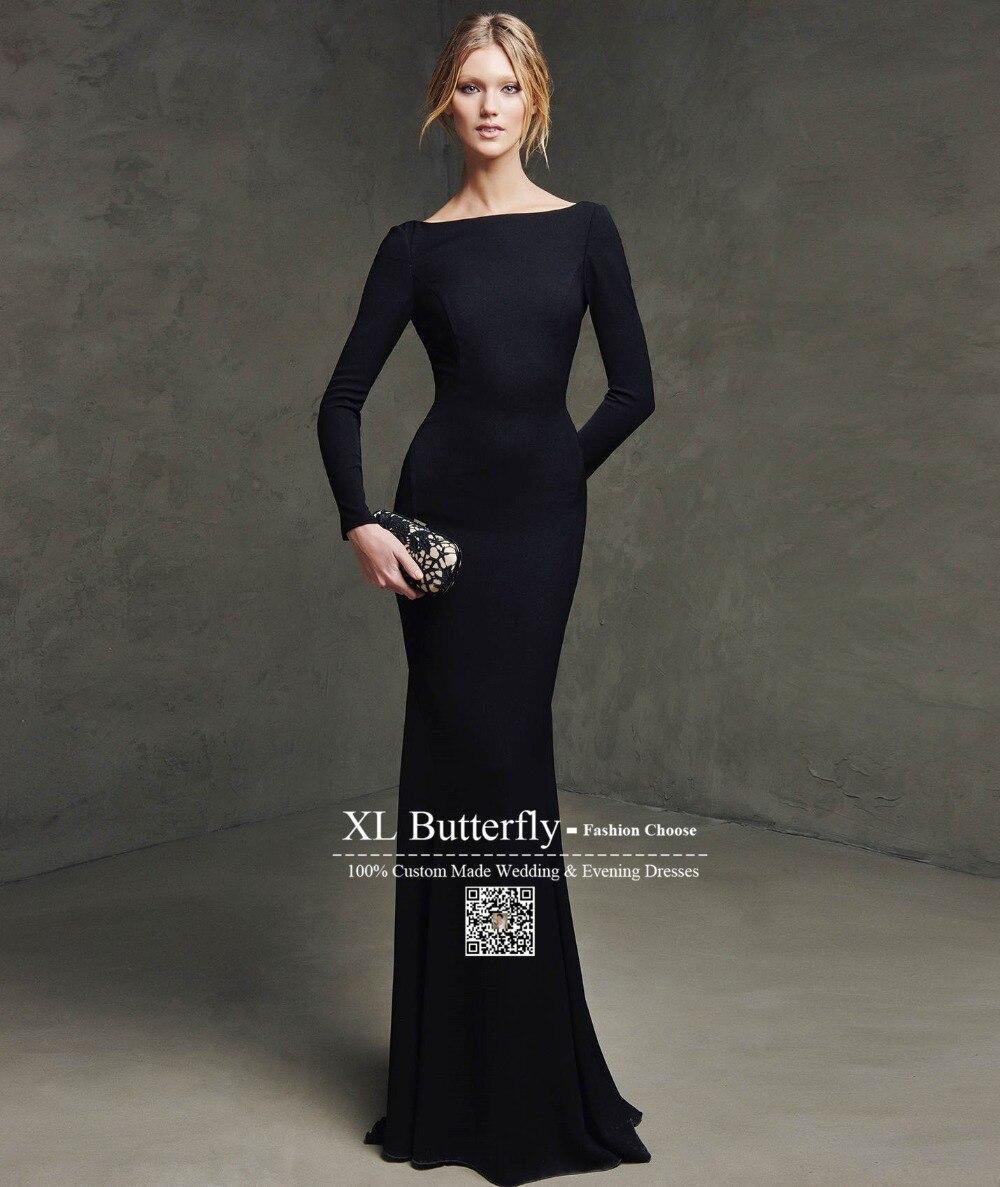 Vestido negro cuello barco