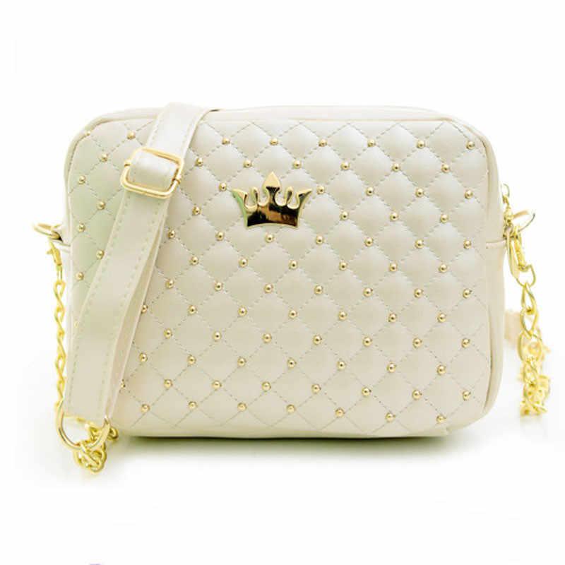 MIni Crown Vrouwen Messenger Bags Klinknagel Keten Schoudertas Kleine Vrouwen Tas Lederen Handtas Crossbody Tassen voor Vrouwen Bolso mujer