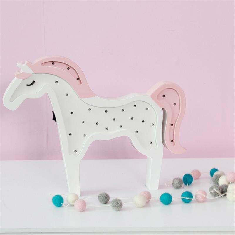 La Unicornio Novedad Caballo Día Luz Noche Del De Madera Animales TJlF5cu1K3