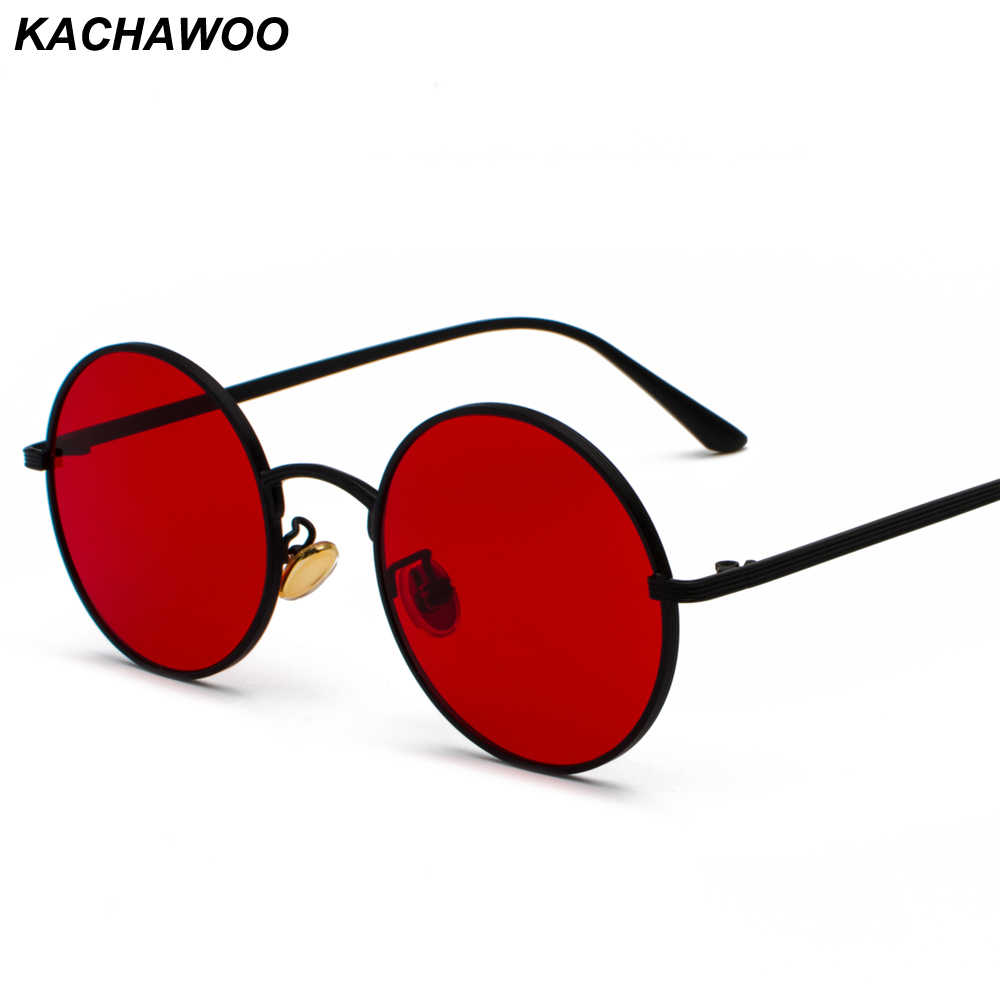 Kachawoo women sunglasses with red lenses round metal frame vintage retro glasses sun for men unisex birthday gifts