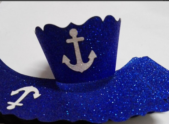 24pieces Glitter Paper Anchor Wedding Cupcake Wrappers Party