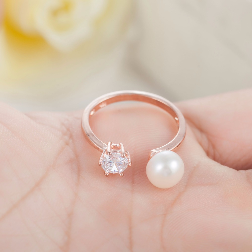 Luxury women plating gold silver rings crystal Freshwater simulated ...