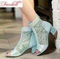 2016 das mulheres da moda botas de verão sexy lace peep toe tornozelo botas de senhora salto alto praça zip calçados casuais sapatas do partido mulher