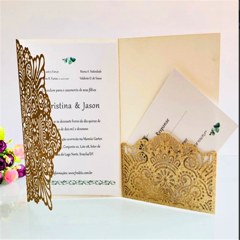 50 Pieces Full Set Wedding Invitation Five star Hotel Large scale Commercial Event Hollow Colorful Greeting Card