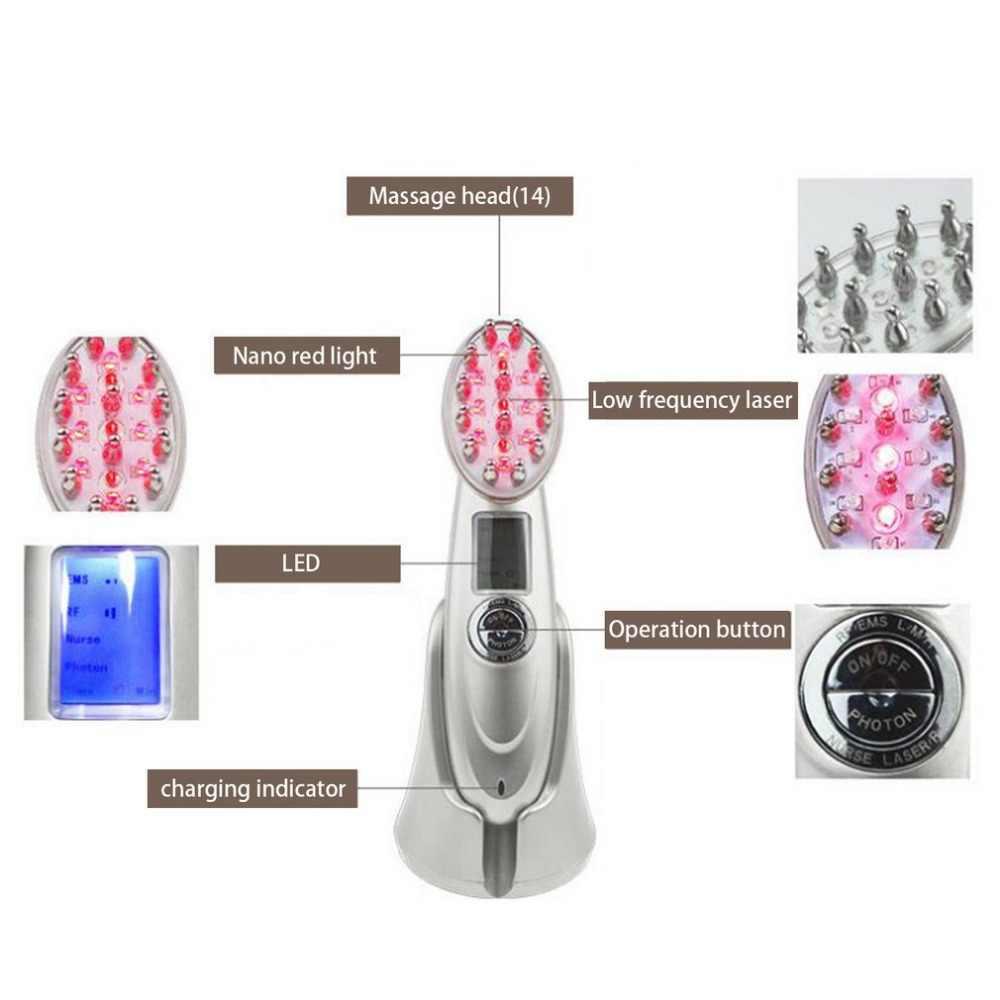 Новая красивая RF лазерная щетка для восстановления волос, предотвращающая потерю волос, светодиодный фотонный лазерный гребень для роста волос, вибромассажер для кожи головы