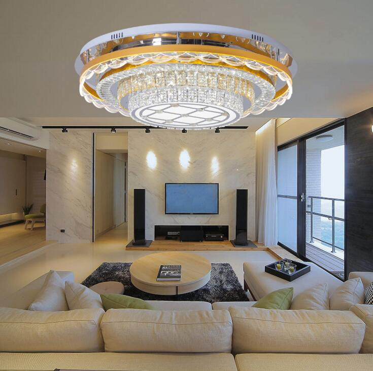 Modern round crystal lamp led ceiling lights three color ...