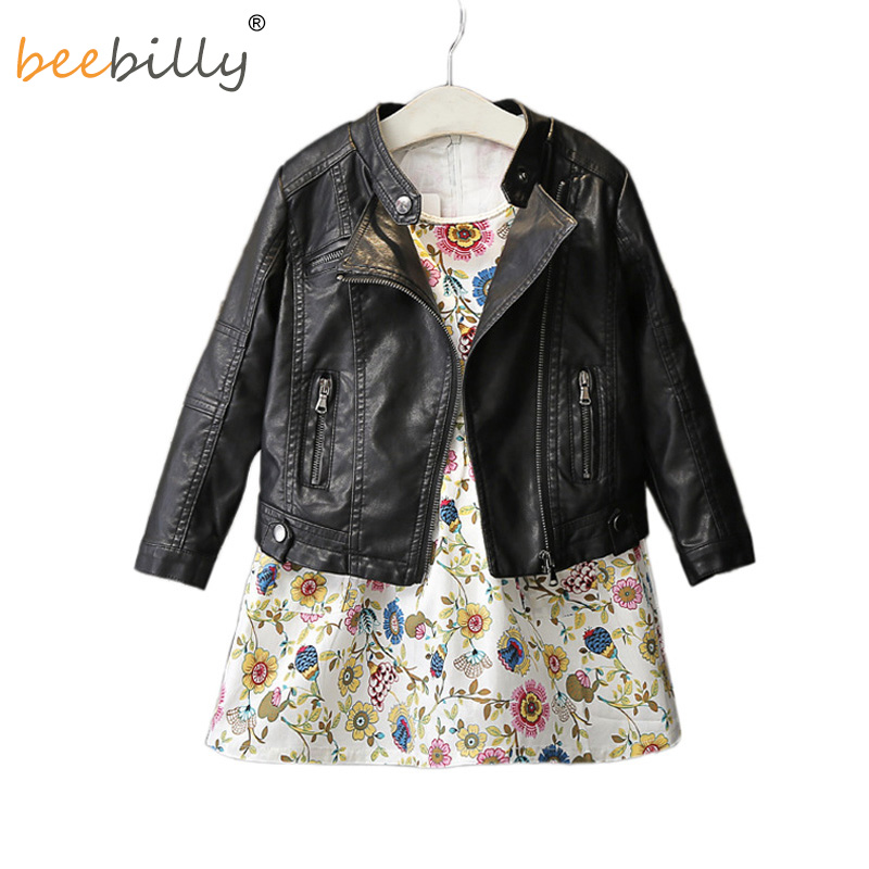 BEEBILLY 2017 Fashion Spring Baby Girls&Boys Leather Jacket Korean Children Clothes Baby Black Zipper Cardigan Coat Kids Outwear boys cardigan children sweater coat kids sweater baby jacket brand girl outwear spring coat school clothes