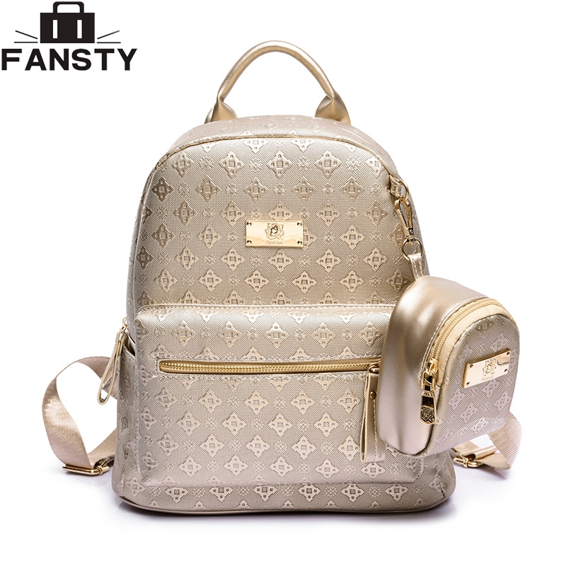 Summer New luxury 2016 Women Backpack with Purse Bag Female PU Leather Embossing High Quality School