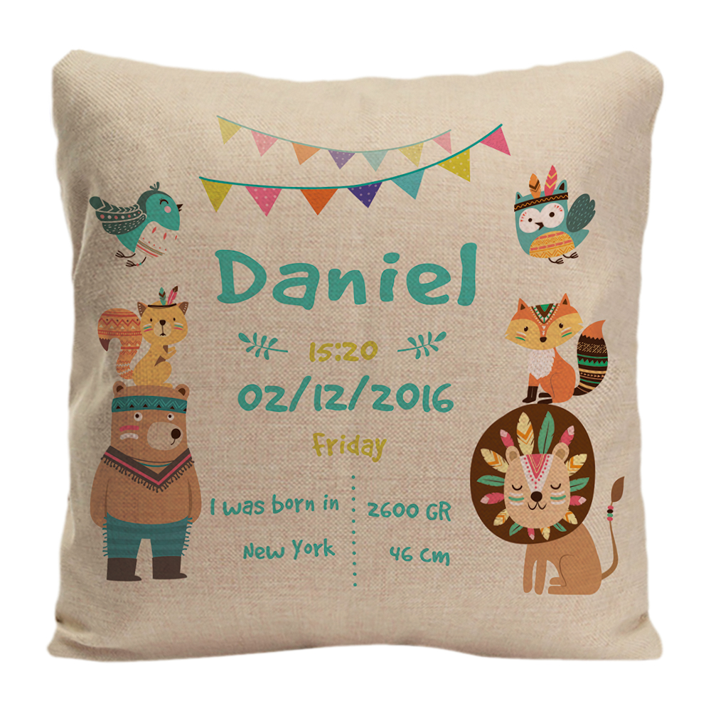 Blue Choice of Pink or Blue Gift//Keepsake Personalised Baby Birth Details Cushion in A Beautiful Cute Elephant Design