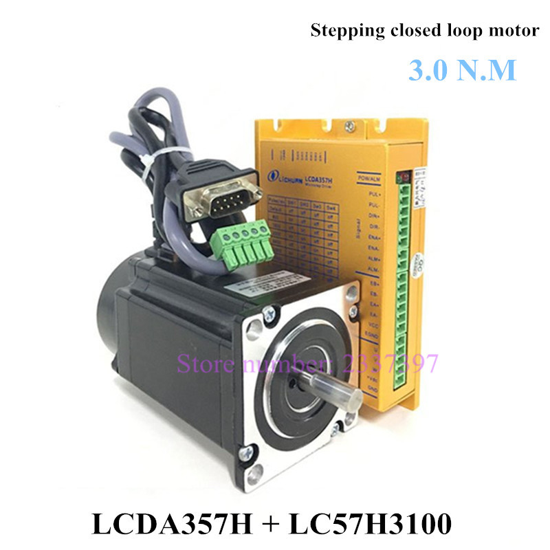 Free shipping Nema 23 closed loop stepper motor kit 3N.m 57 motor LC57H3100 + LCDA357H 3 phase stepper motor driver 2 phase 8 5n m closed loop stepper servo motor driver kit 86j18118ec 1000 2hss86h cnc machine motor driver