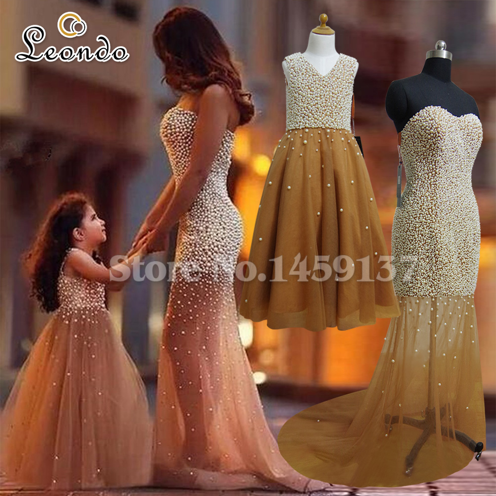 0185bfbd1ef Gorgeous Mother And Daughter Matching Dresses Trumpet Tulle Pearls Elegant  Long Flower Girls Dresses