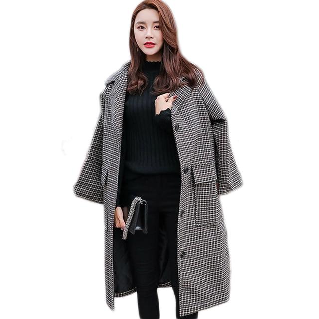 en soldes plus près de super service Femme manteaux hiver 2019 automne femmes laine Plaid manteau nouvelle mode  Long mince Type femme vestes